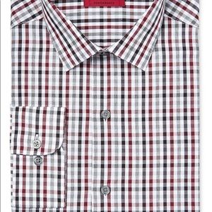 Alfani Red and Gray Fitted Button-up Dress Shirt
